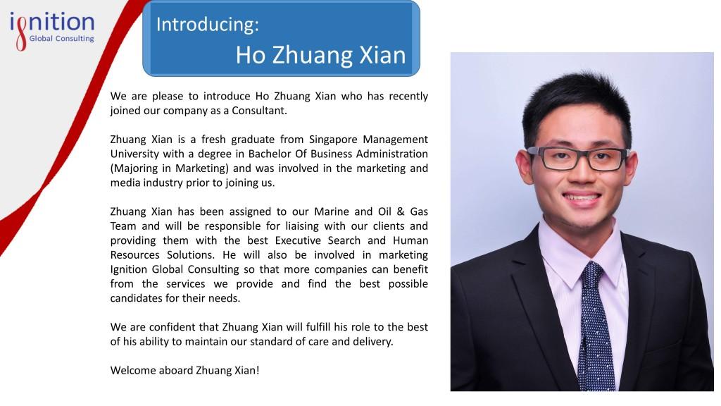 New employee announcement - Zhuang Xian
